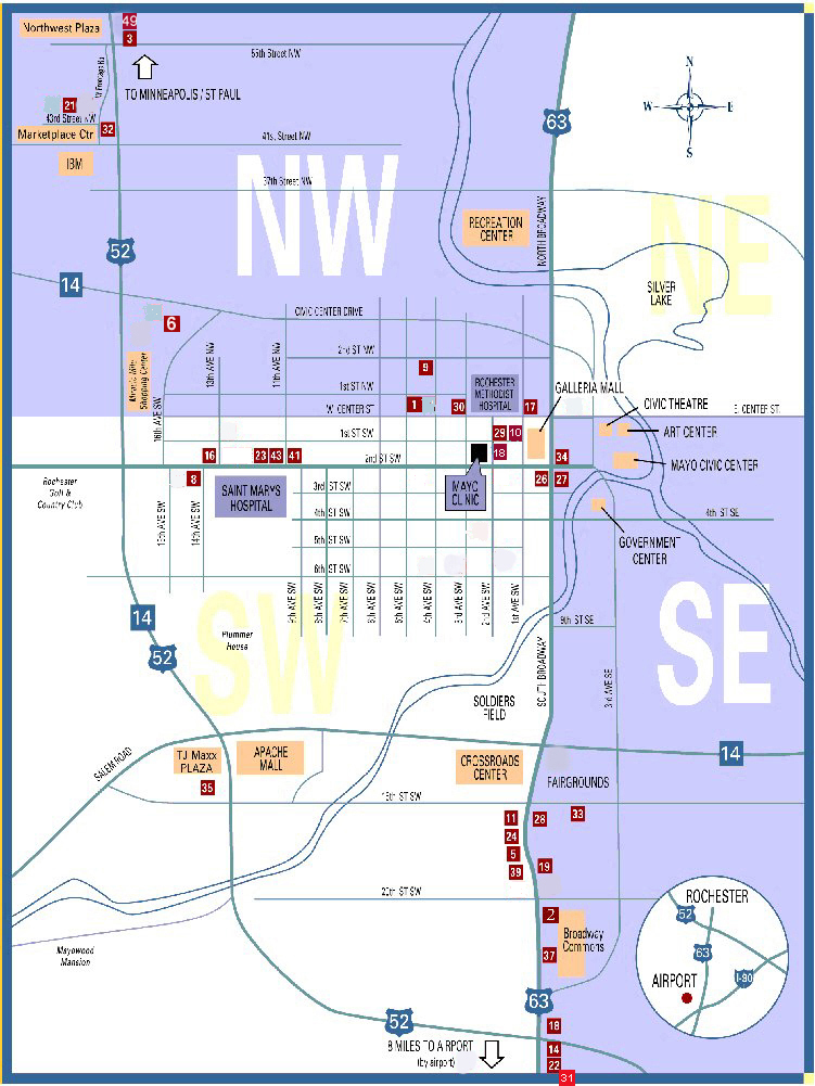 Rochester Minnesota Map Showing Hotel Motel Locations In Relation
